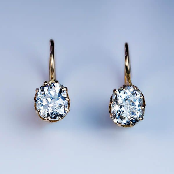 Antique Russian Solitaire Diamond Earrings, St. Pe…