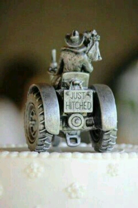 Country wedding cake topper, riding off into the sunset on a tractor. Too cute :)