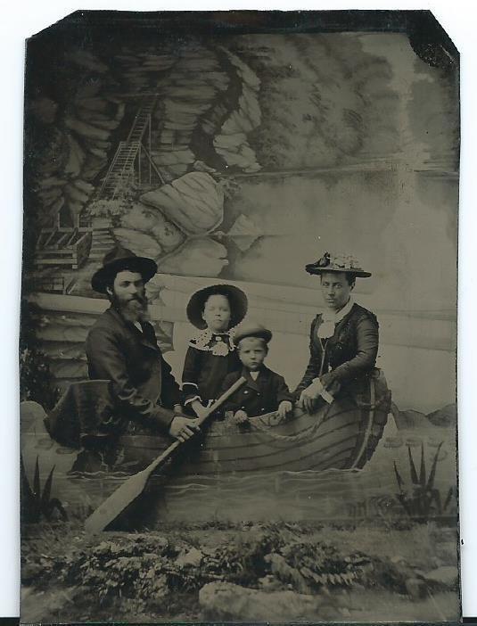 Tintype Photo ~ Family ~ Studio Backdrop, Boat, Water, Cave?
