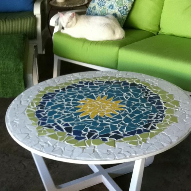 Thrift store table recreated into mosaic art.