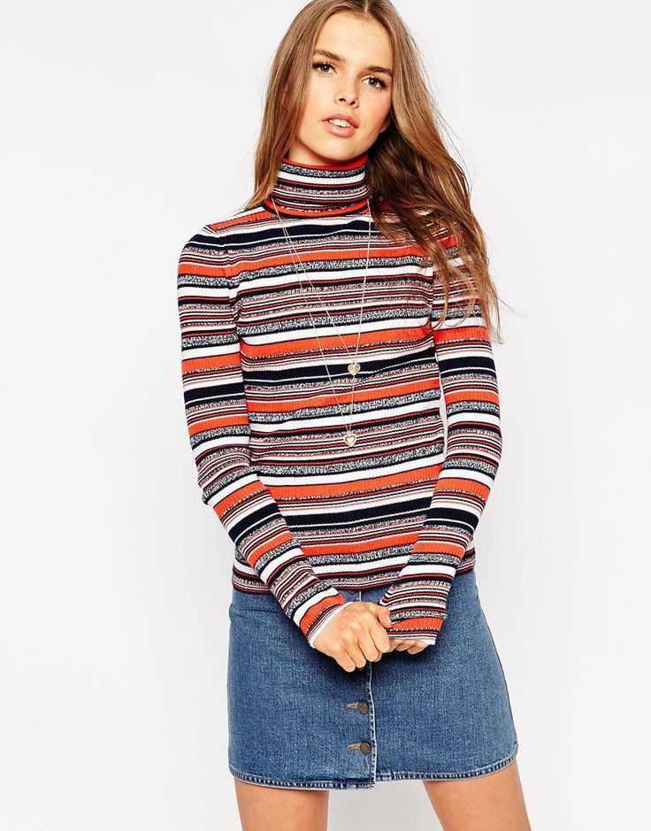 ASOS+Co-Ord+Jumper+In+Stripe+With+Roll+Neck