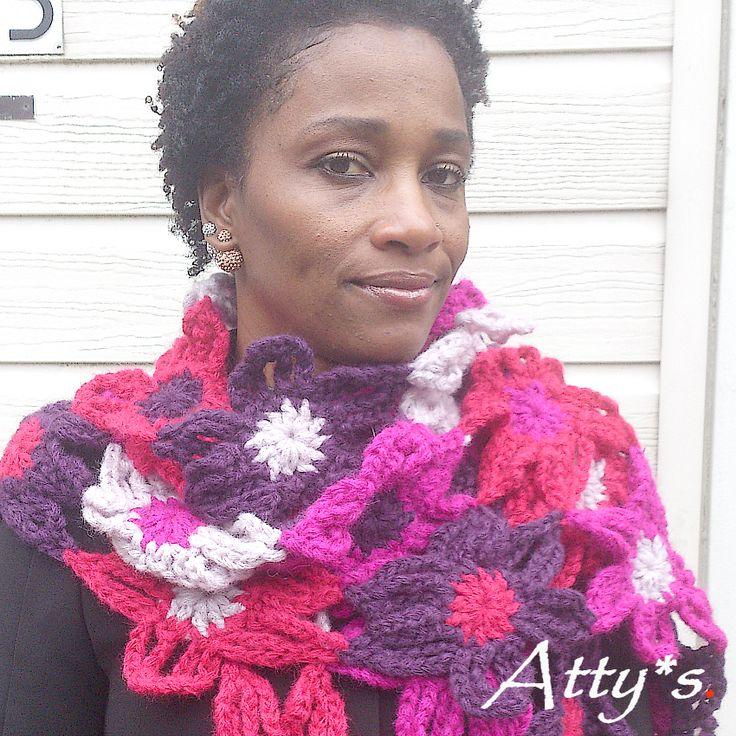 Chunky Crochet Flower Scarf FREE pattern