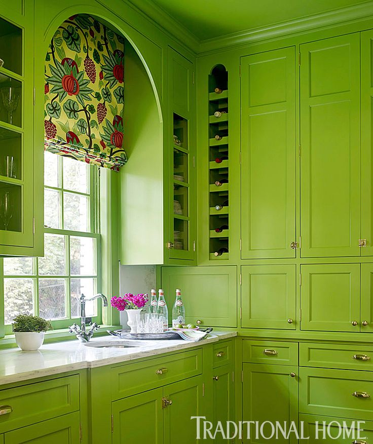 Green Cabinets   Contemporary   Kitchen   Benjamin Moore Rosemary Green    Traditional Home