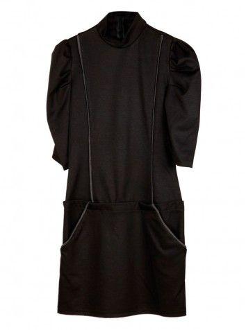 Kısa Kol Degaje Yaka Elbise Siyah