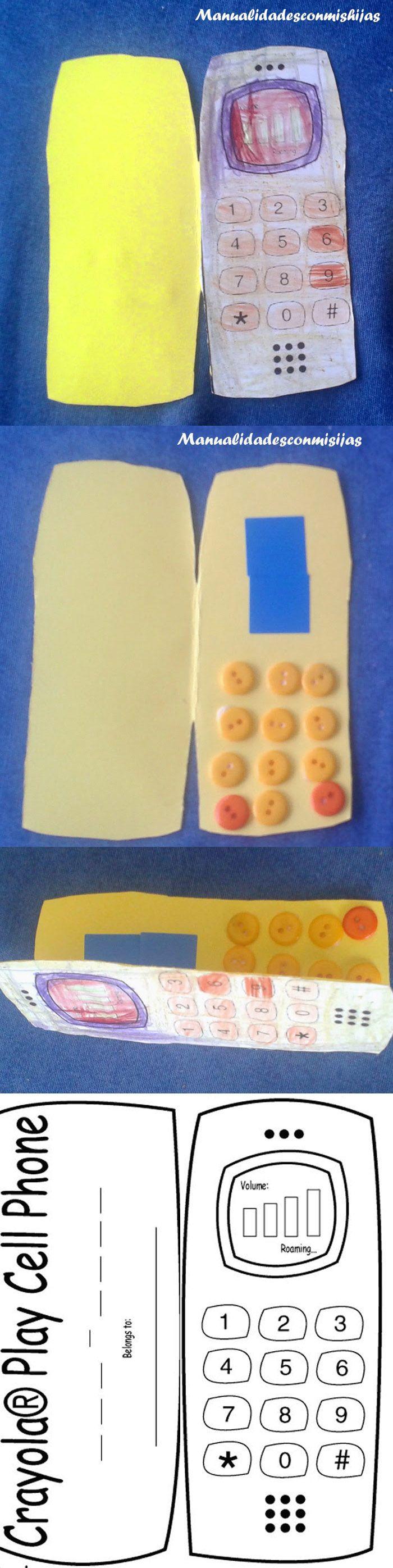 Manualidadesconmishijas. Tarjeta de movil y sus botones. Molde. Tempalte. Kids craft. Kids card. Father's day