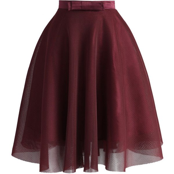 Chicwish Bowknot Mesh A-line Skirt in Wine (655 ARS) ❤ liked on Polyvore featuring skirts, red, red flare skirt, a line skirt, a line flared skirt, flared skirt and red flared skirt