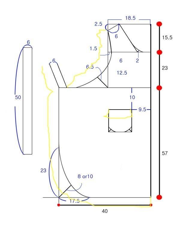 [미싱] 프릴 앞치마도안,패턴