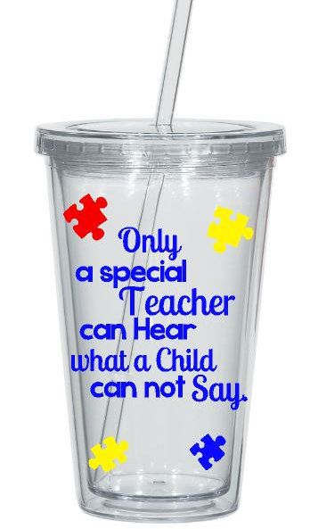 Autism Teacher Tumbler - pinned by pin4etsy.com