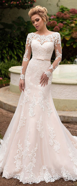 NEW! Amazing Tulle & Organza Bateau Neckline Mermaid Wedding Dress With Lace Appliques & Belt