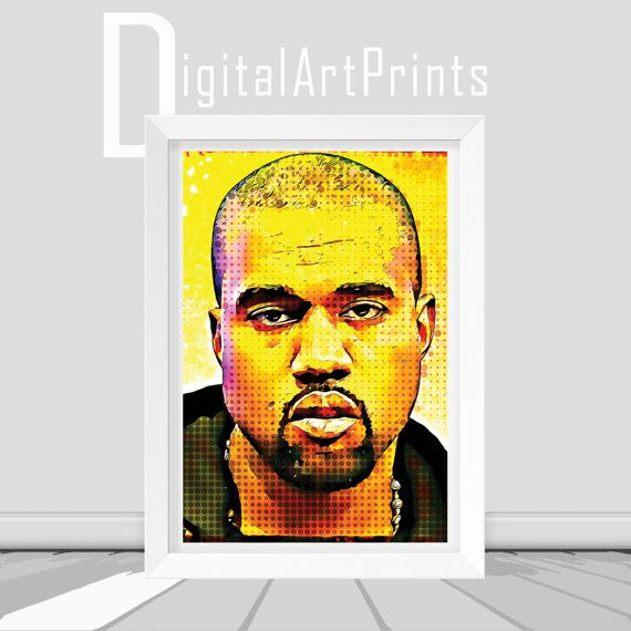 Music Decor Kanye West Print Kanye West by DigitalArtPrintsShop