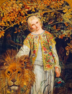 AstroSpirit / Leo ♌ / Fire / Una and the Lion (from Spenser's 'The Faerie Queene') by William Bell Scott