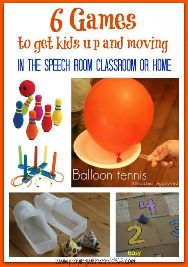 Playing with words 365: 6 games to get kids up and moving in the speech room, classroom, or home! Pinned by SOS Inc. Resources. Follow all our boards at pinterest.com/sostherapy for therapy resources.