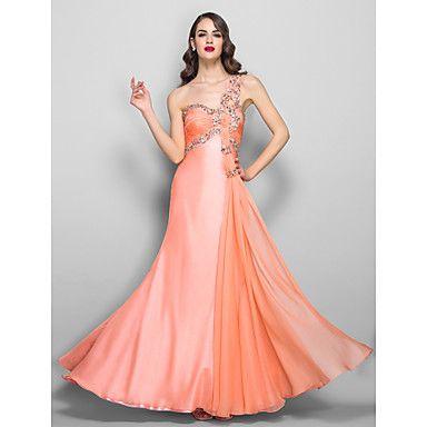 [XmasSale]A-line/Princess One Shoulder Floor-length Chiffon Evening/Prom Dress - USD $ 127.99