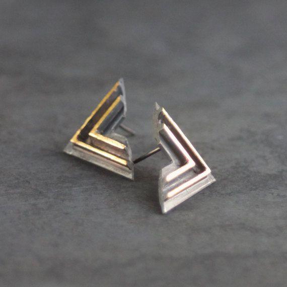 LABYRINT geoxideerd zilver Keum-Boo & 24ct gouden Handgemaakte