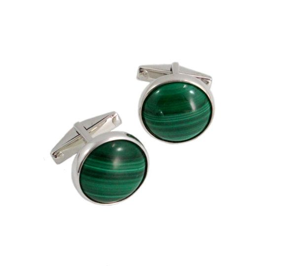 Malachite round pair 925 solid silver by SARAHHUGHESfinegems
