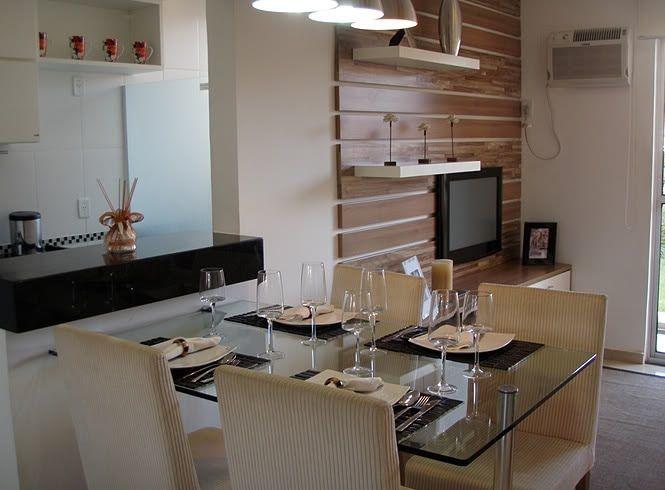 decora o living e sala de jantar integrada Cozinhas Americanas em apartamentos e casas pequenas