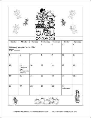 2014 Calendar Year - Printable Coloring Calendar: October 2014 Coloring Calendar