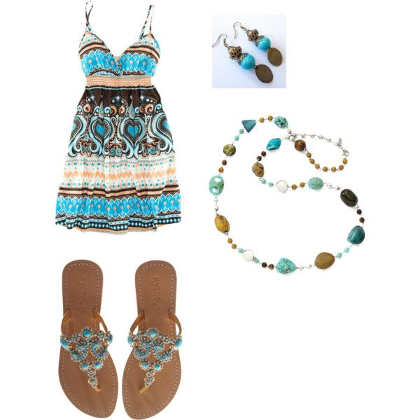 turquoise summer, created by laurar53 on Polyvore