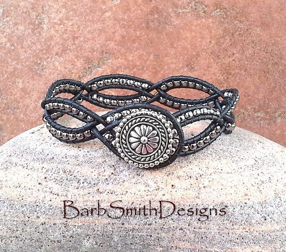 Black Silver Leather Wrap Cuff Bracelet - The Dainty One in Black n' Silver