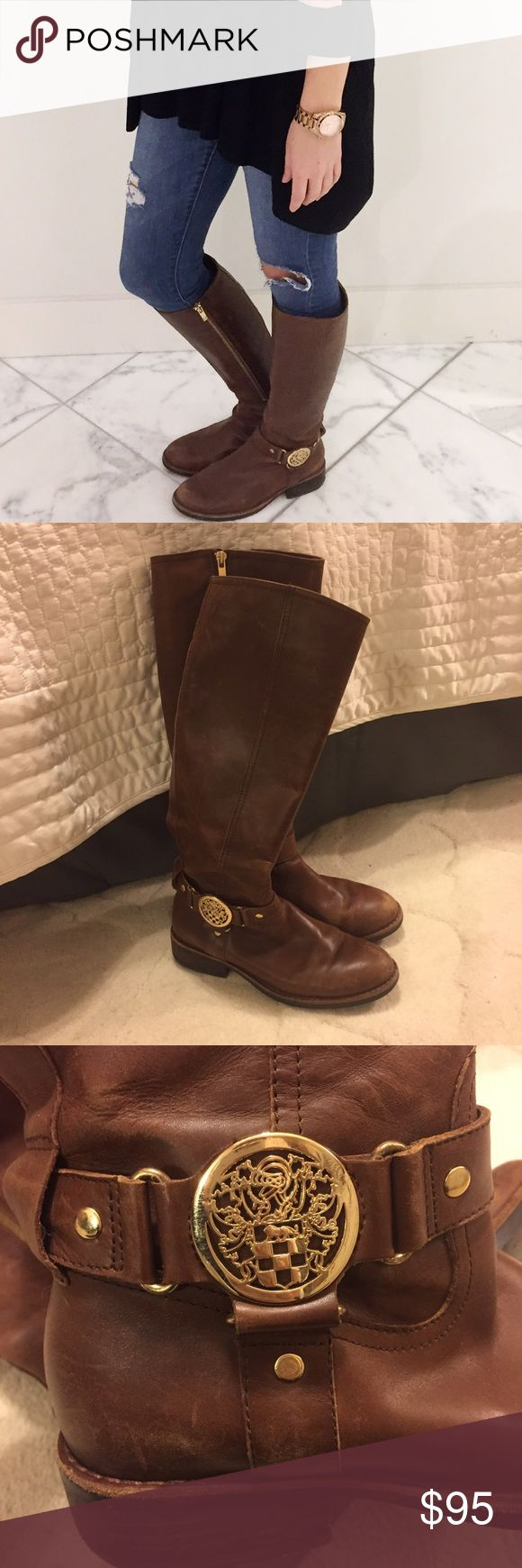 Vince Camuto Camel Riding Boots Gold zippers. Definitely worn but still good condition Vince Camuto Shoes Winter & Rain Boots