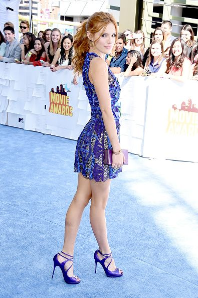 Bella Thorne arrives at the 2015 MTV Movie Awards at Nokia Theatre L.A. Live on April 12, 2015 in Los Angeles, California.