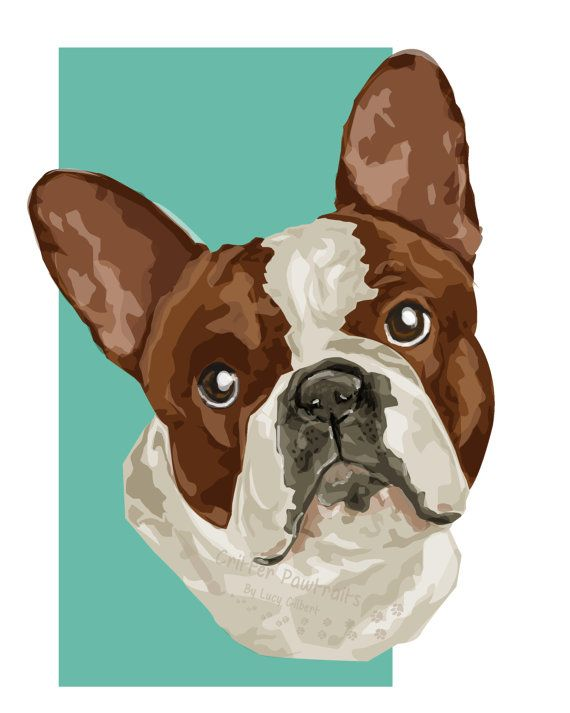 French Bulldog Pet Illustration Pedigree Breed Animal Print on Mount Frenchie Critter Pawtraits