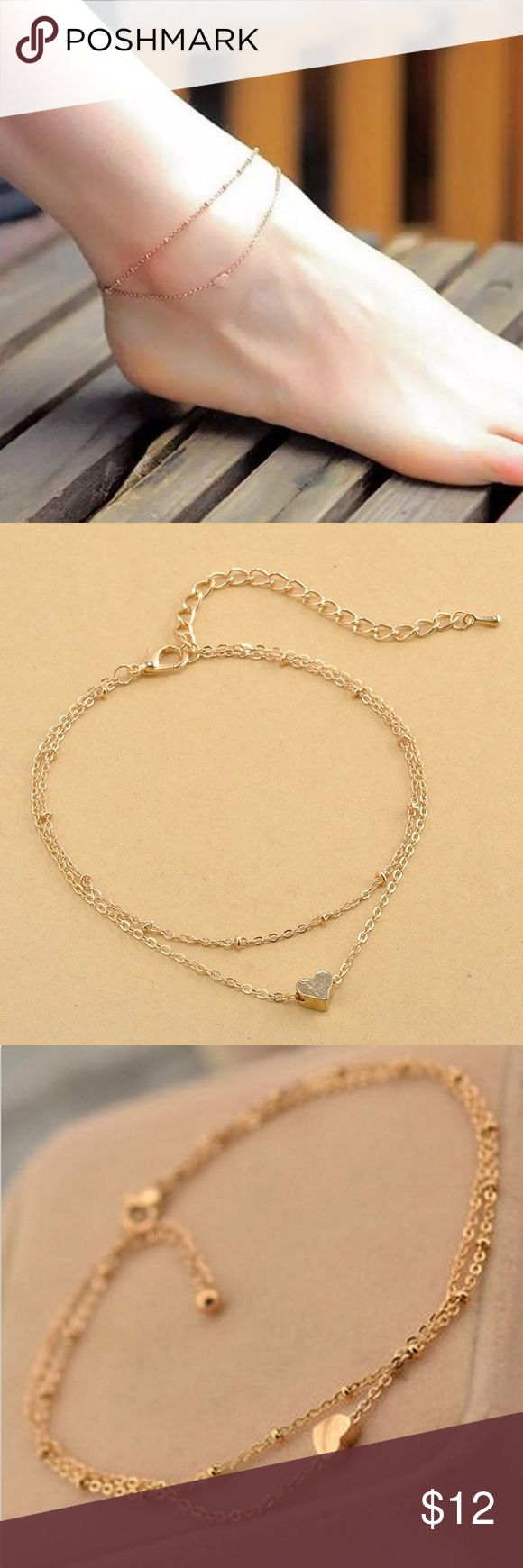 Cute Heart Anklet Adorable Gold Heart Anklet-27cm in length (adjustable) Jewelry