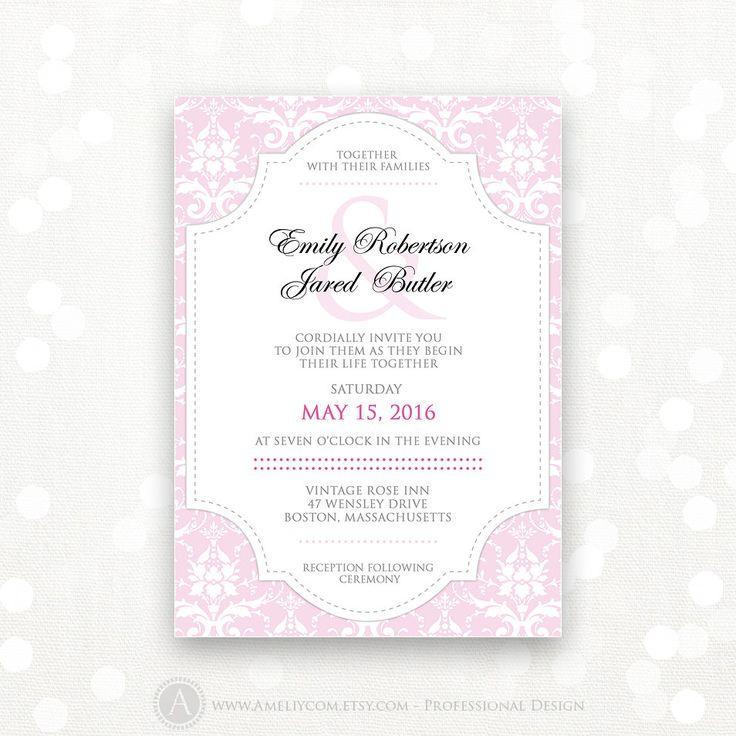 Printable Wedding Invite Pink Damask Weddings Invitation Flyer - INSTANT DOWNLOAD - Editable DIY for print at home Retro Vintage Invitation