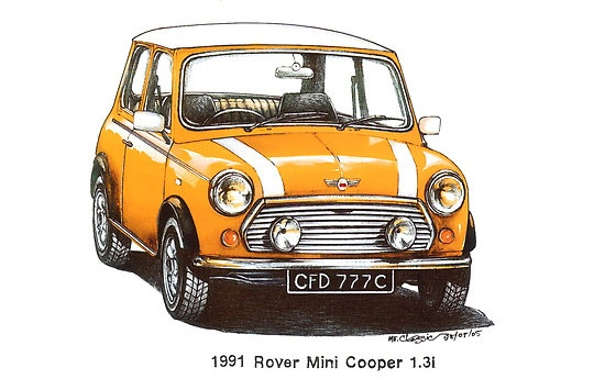 Yellow 1991 Rover Mini Cooper