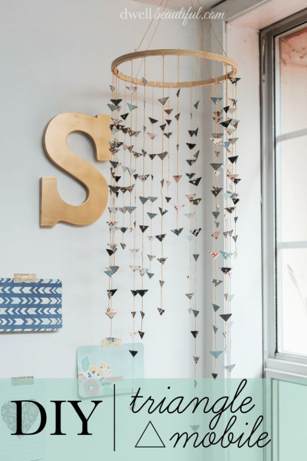 42 DIY Room Decor for Girls - DIY Triangle Mobile - Awesome Do It Yourself Room Decor For Girls, Room Decorating Ideas, Creative Room Decor For Girls, Bedroom Accessories, Insanely Cute Room Decor For Girls http://diyjoy.com/diy-room-decor-girls