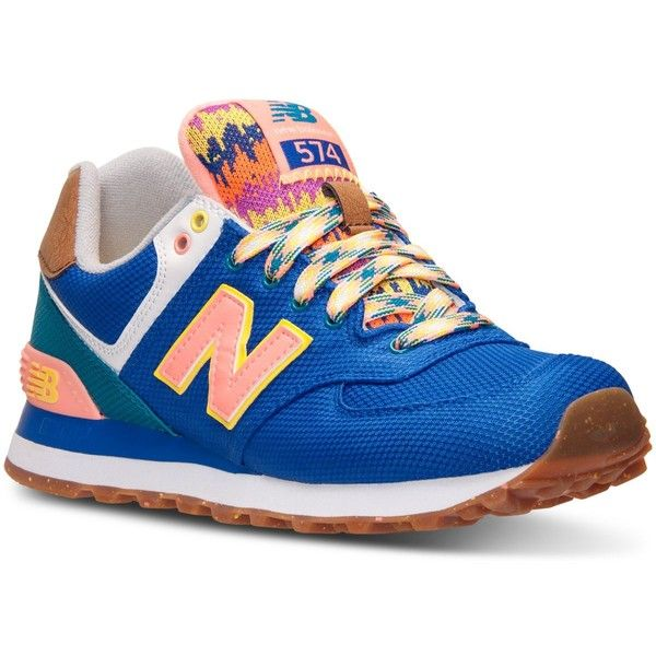 New Balance Women's 574 Expedition Casual Sneakers from Finish Line ($80) ❤ liked on Polyvore featuring shoes, sneakers, blue, traction shoes, patterned shoes, new balance sneakers, grip trainer and print sneakers