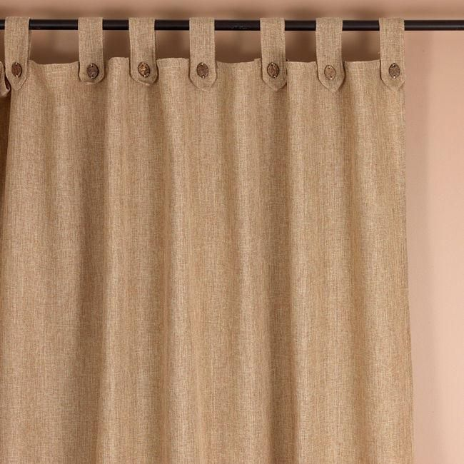 #P2019 Burlap Tabs Curtains, LINED with Buttons    PAY 1/2 DOWN