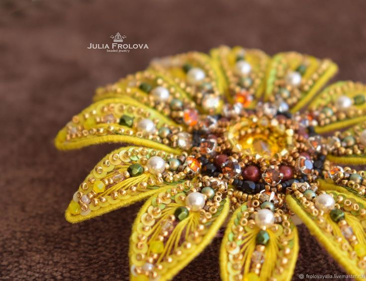 "Brooch ""Sunflower"" – shop online on Livemaster with shipping"