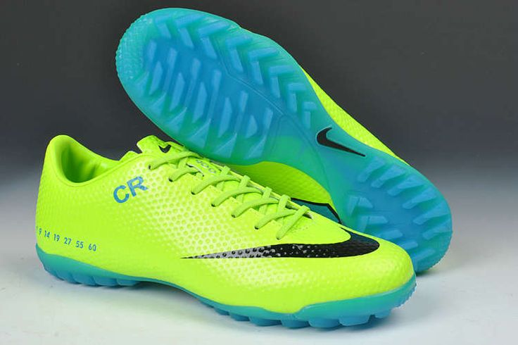 Nike Mercurial Vapor IX CR7 SE Limited Edition TF Boots - Fluorescent Green Blue Black New Soccer Shoes 2013