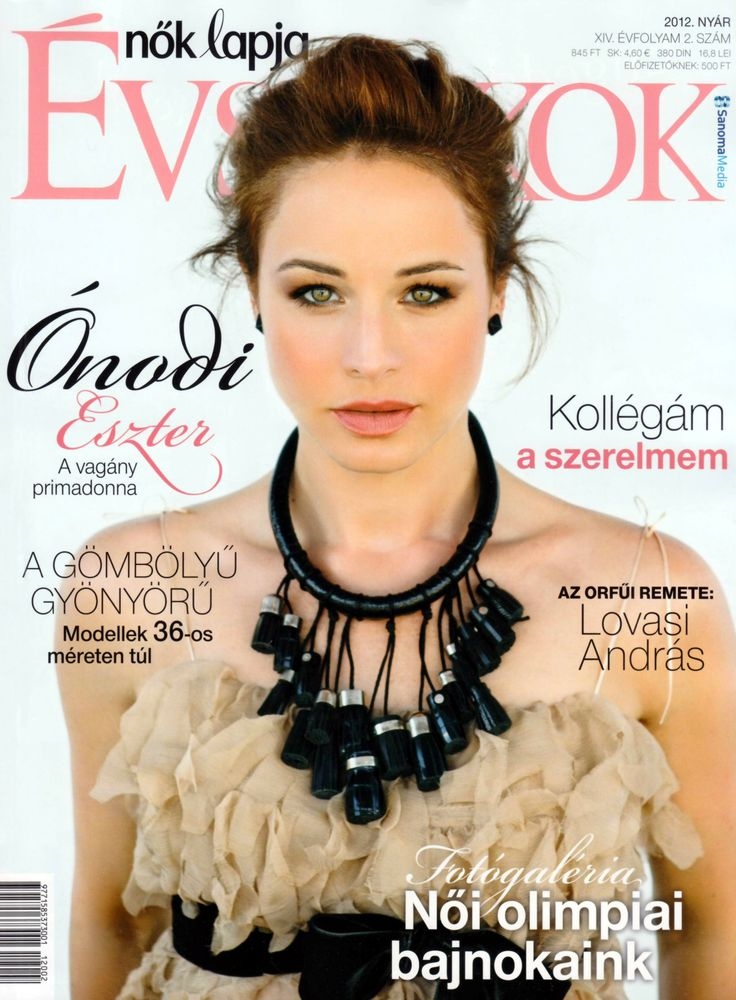 Ónodi Eszter Hungarian actress wearing Daalarna Couture chiffon cocktail dress on the cover of magazine Nők Lapja Évszakok