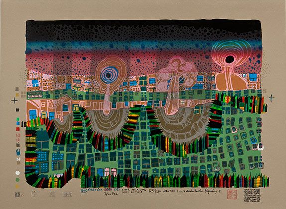 "Hundertwasser ""Town in Town"" 1979, Format 558 x 760, image 445 x 645, silkscreen in 13 colors with metal imprints in 3 colors, ed. 129/350"
