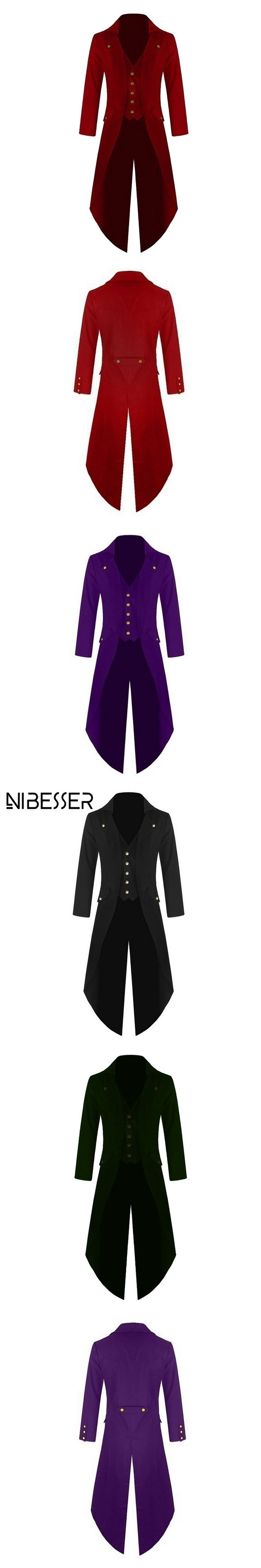 NIBESSER 2017 High Quality Long Blazer Jackets Men Punk Retro Tuxedo Wedding Jacket Coat Women Autumn Solid Club Windbreaker Z30