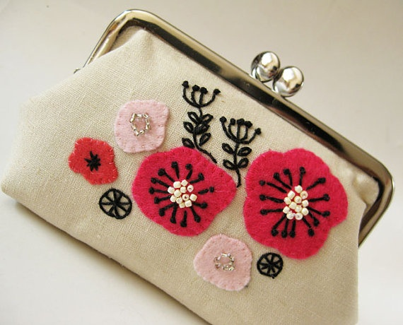 Handmade purse with pink poppies.
