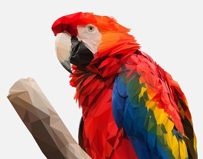 """Check out new work on my @Behance portfolio: """"Beautiful Scarlet Macaw Low Poly Illustration"""" http://be.net/gallery/36915603/Beautiful-Scarlet-Macaw-Low-Poly-Illustration"""