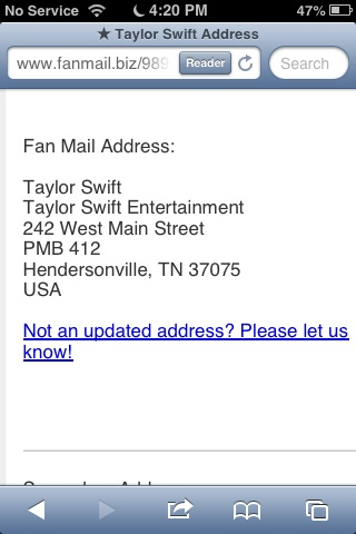 Taylor Swift fan mail address. Please comment below if you've ever had any luck with fan mail!!!
