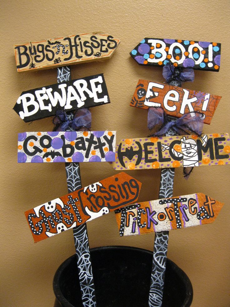 Jez4U Custom Halloween Signs on a stake to stick in your yard for a REAl Scream Listing Includes 4 signs. $85.00, via Etsy.