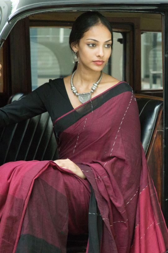 casual modern saree red black maroon