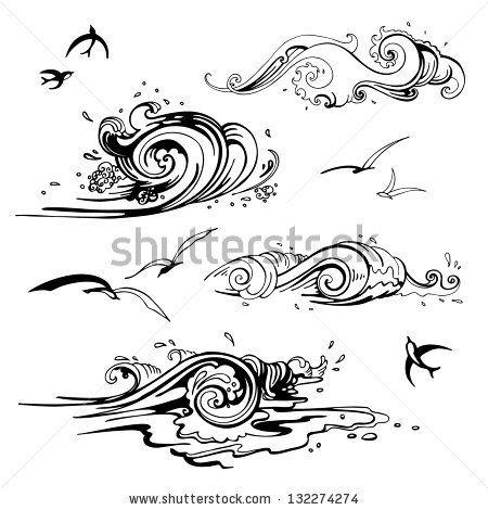 Sea waves set. Hand drawn vector illustration. Design element. by Katya Ulitina, via Shutterstock