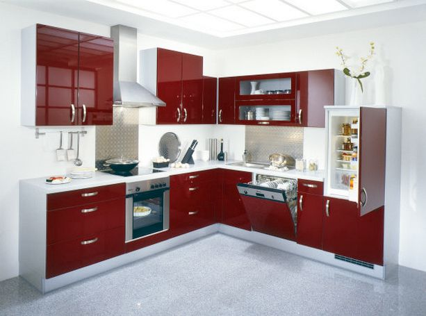 Contemporary Kitchen Cabinets Red And White Theme Part 50