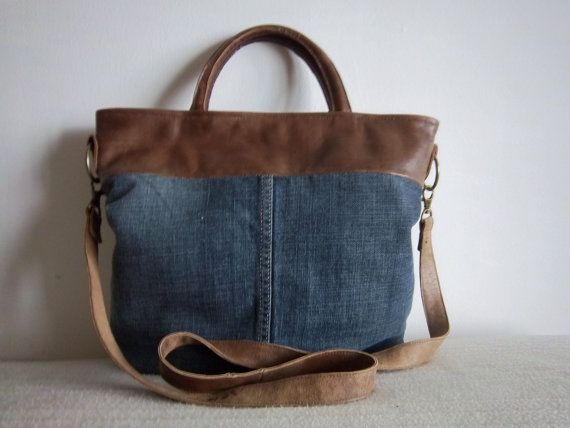 Leather/denim bag- tan leather and stone wash denim tote/ cross body bag. Get 10% off see details