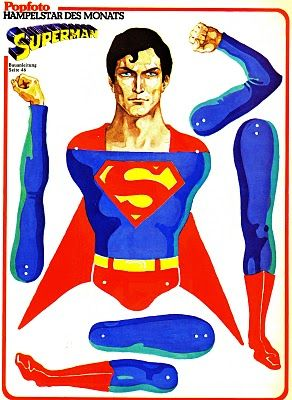 Superman paper craft. Entertaining party activity. Super hero paper doll cut out.