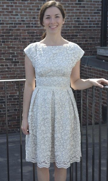 white lace dress with silk underlining /// Bodice: By Hand London's Anna dress; Skirt: big pleated rectangle (McCalls 6833)