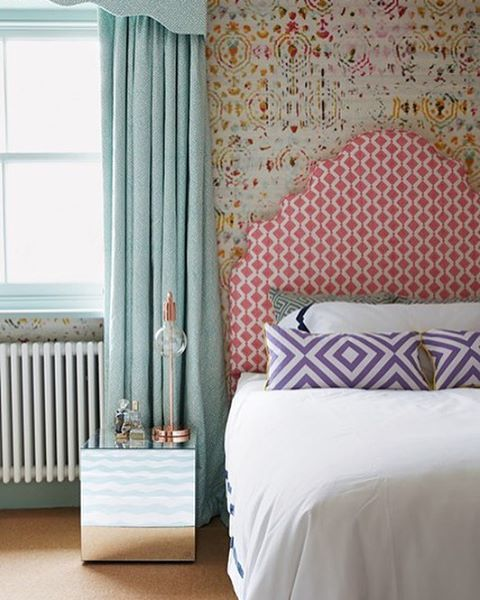 Flowery silk Kandy wallpaper in 'Brit Pop' by Élitis has been used in this stylish children's bedroom designed by @henrifitz. The overall effect is modern and elegant.  More wallpaper ideas for every room at houseandgarden.co.uk/wallpaper  #interiors #design #decoration #wallpaper