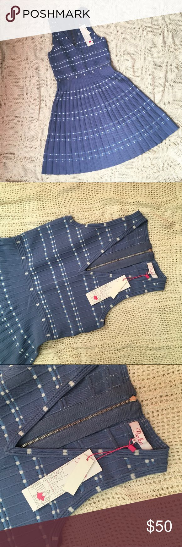 PARKER STITCH FIX BECKY KNIT DRESS MEDIUM BLUE Sprinkled with lots of dots, this flattering, fit and flare knit dress is one of our desk-to-drinks favorites. Just add a blazer by day and a high heel come evening, and you're ready for anything. Exposed back zip.  Size M New with tags Parker Dresses Mini