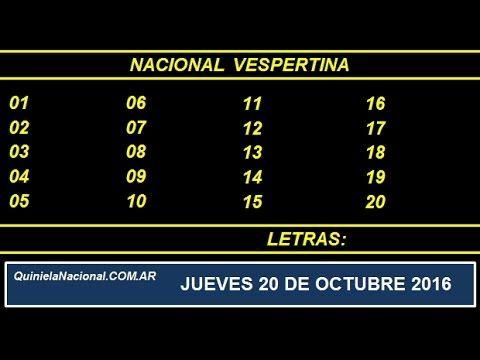 Quiniela - El Video oficial de la Quiniela Vespertina Nacional del día Jueves 20 de Octubre de 2016. Info: www.quinielanacional.com.ar